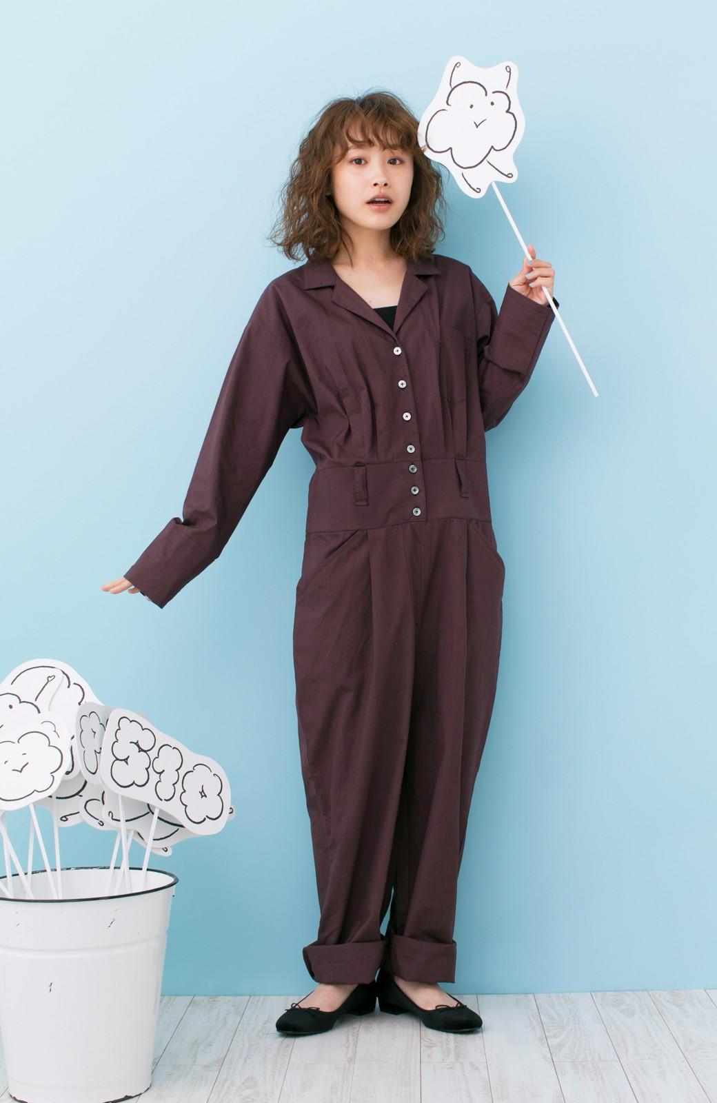 haco! PBP 高橋愛さんコラボ 大人っぽく着られるコットンシャツオールインワン <バーガンディー>の商品写真8
