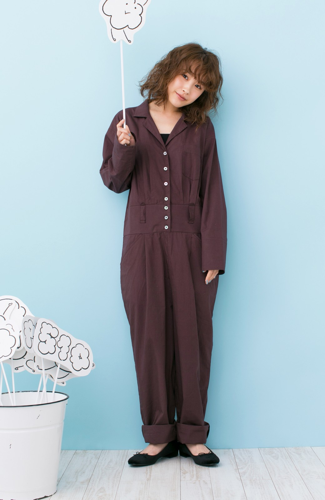 haco! PBP 高橋愛さんコラボ 大人っぽく着られるコットンシャツオールインワン <バーガンディー>の商品写真9