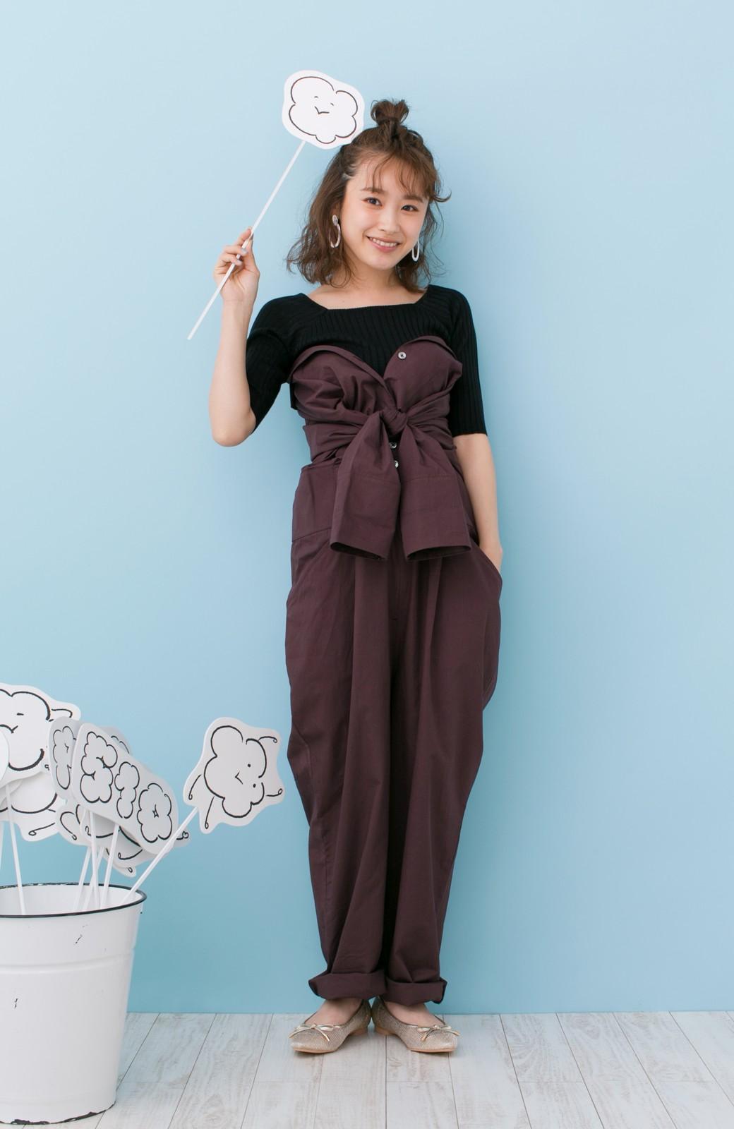 haco! PBP 高橋愛さんコラボ 大人っぽく着られるコットンシャツオールインワン <バーガンディー>の商品写真10