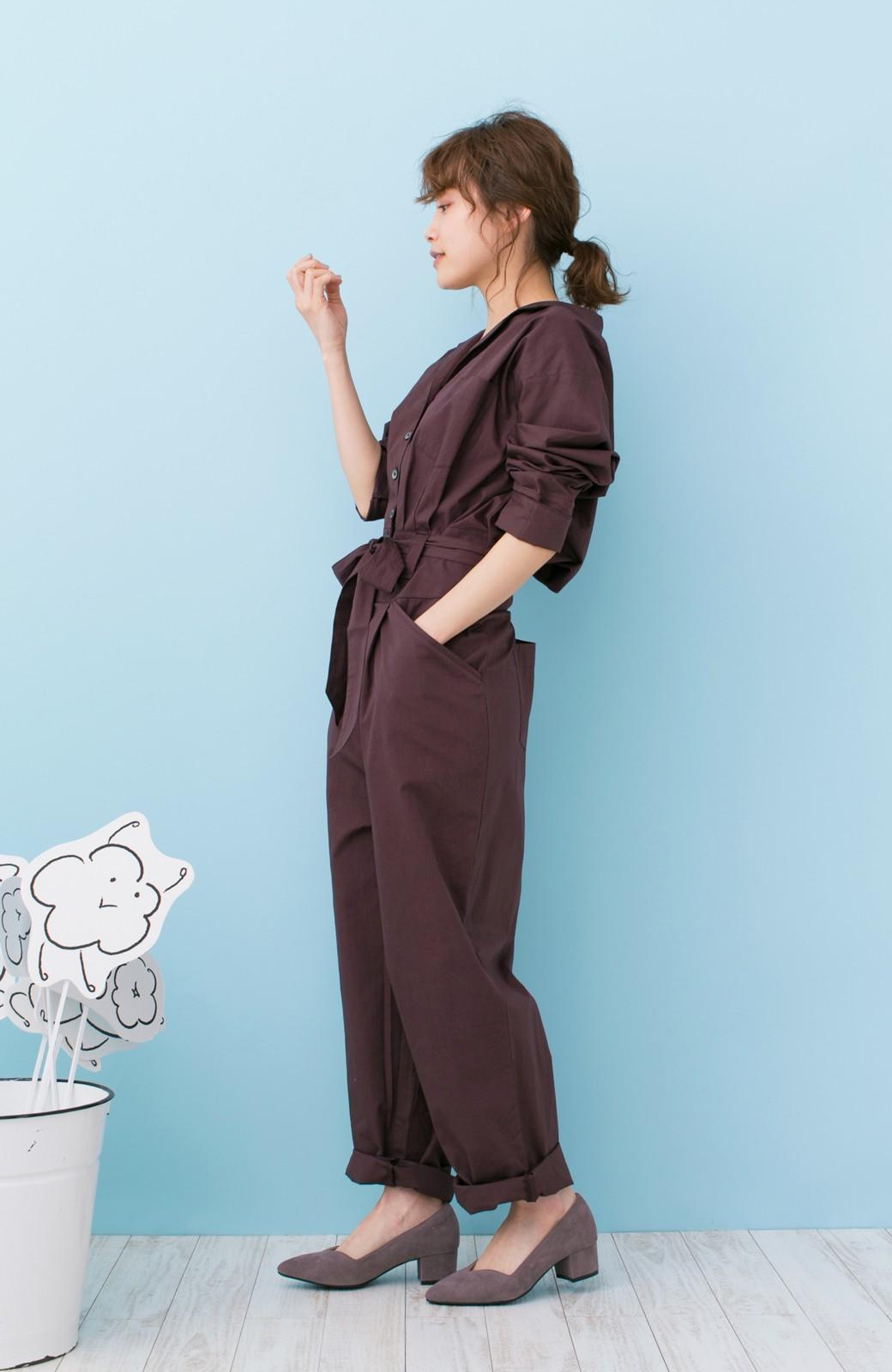 haco! PBP 高橋愛さんコラボ 大人っぽく着られるコットンシャツオールインワン <バーガンディー>の商品写真12