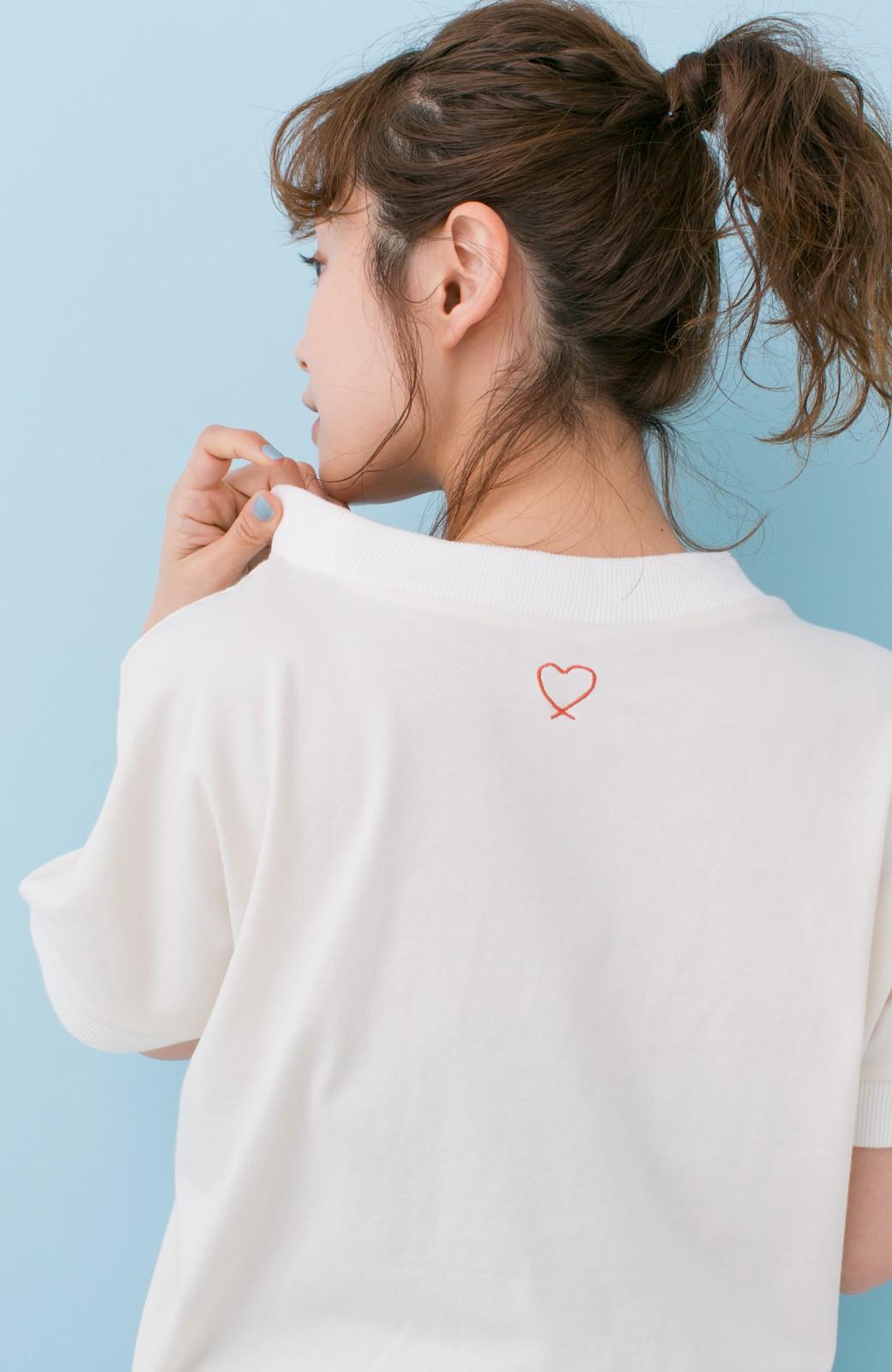 haco! PBP 高橋愛さんコラボ 手描きハート刺しゅうがかわいいコットンリンガーTシャツ <アイボリー>の商品写真3