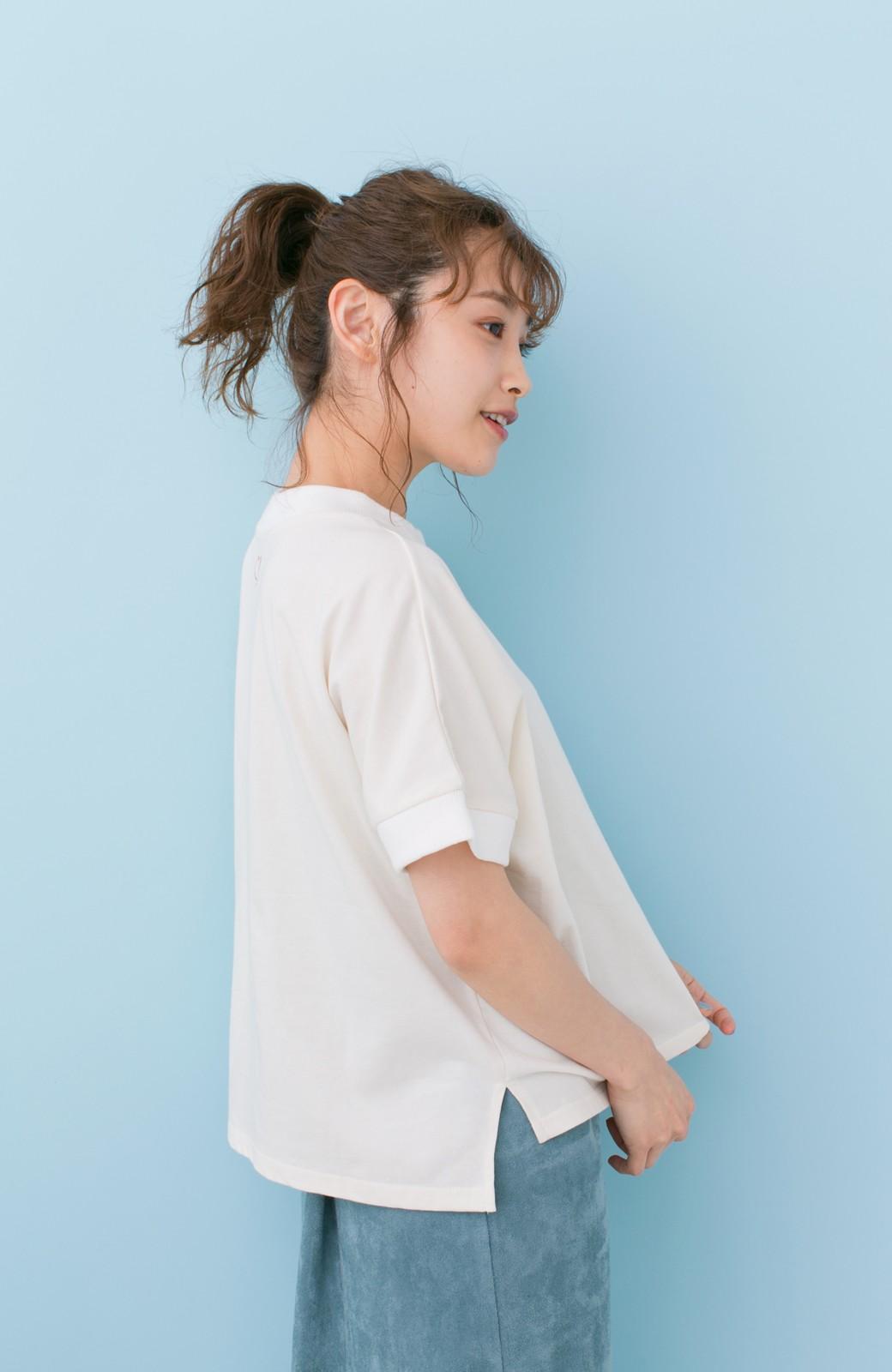 haco! PBP 高橋愛さんコラボ 手描きハート刺しゅうがかわいいコットンリンガーTシャツ <アイボリー>の商品写真10