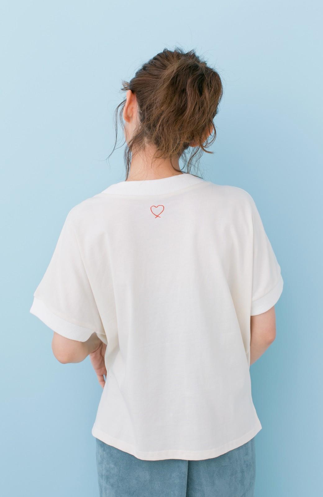 haco! PBP 高橋愛さんコラボ 手描きハート刺しゅうがかわいいコットンリンガーTシャツ <アイボリー>の商品写真11