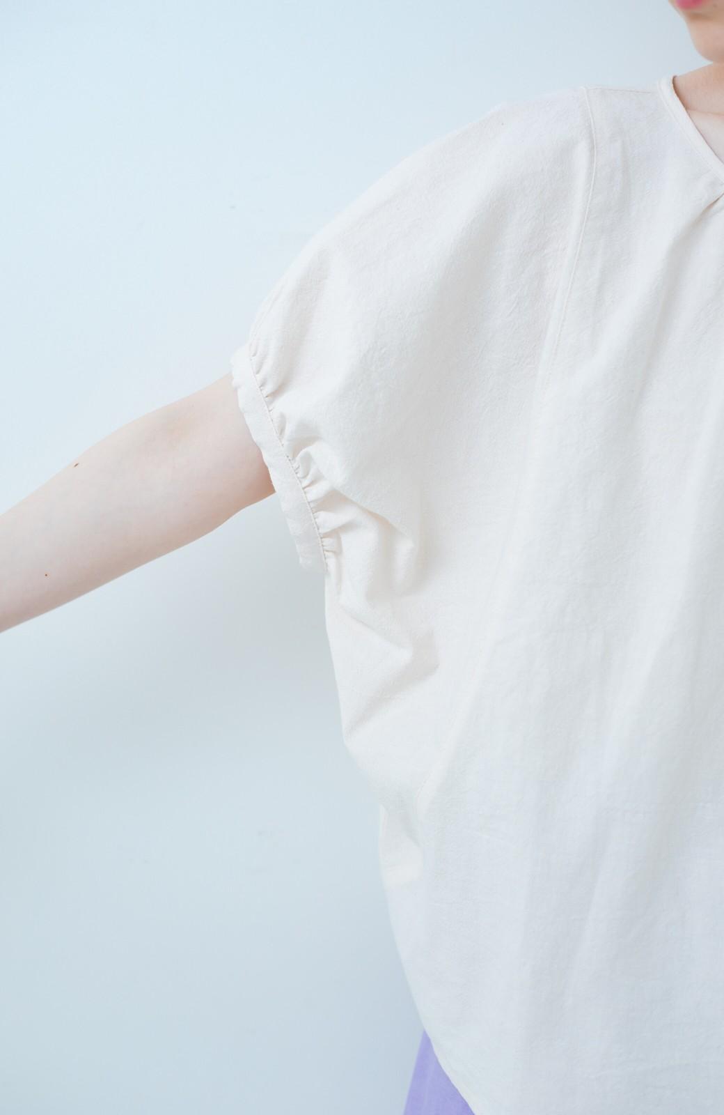 haco! PBP minne作家 シマヅカオリさんと作ったオーガニックコットンの綿麻ブラウス&猫とリボンの刺繍ワッペンセット by haco!×minne one+more project  <ライトベージュ>の商品写真4