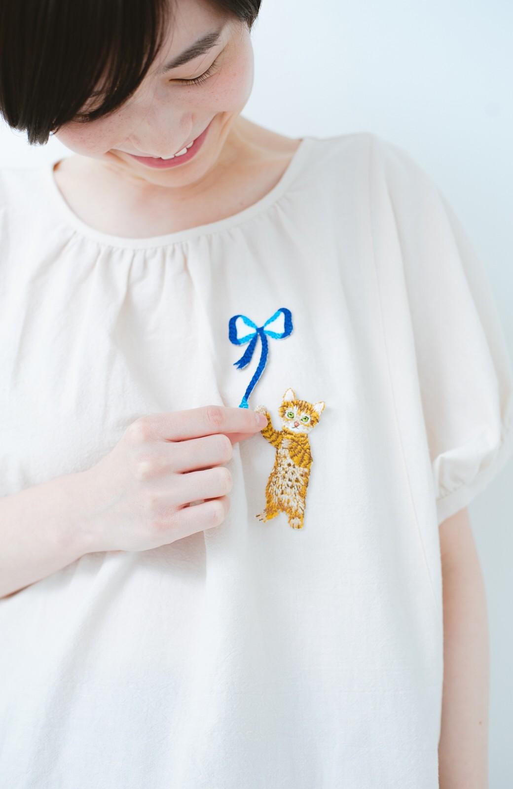 haco! PBP minne作家 シマヅカオリさんと作ったオーガニックコットンの綿麻ブラウス&猫とリボンの刺繍ワッペンセット by haco!×minne one+more project  <ライトベージュ>の商品写真10