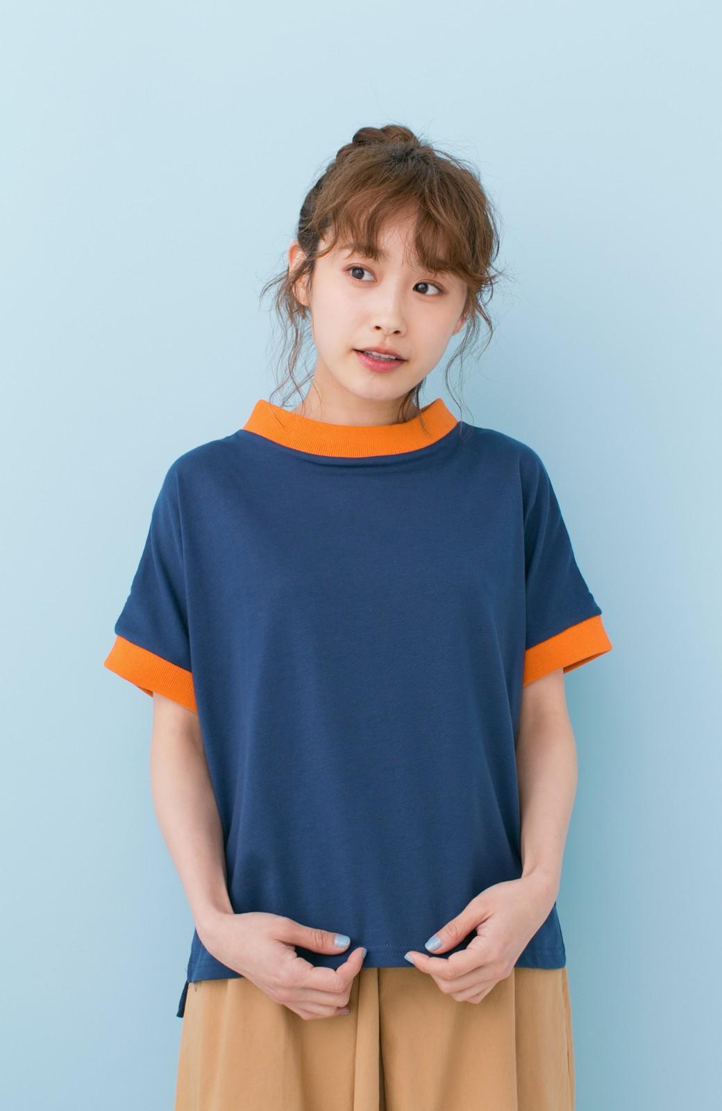 haco! PBP 高橋愛さんコラボ 手描きハート刺しゅうがかわいいコットンリンガーTシャツ <ネイビー>の商品写真1