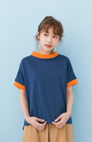 haco! PBP 高橋愛さんコラボ 手描きハート刺しゅうがかわいいコットンリンガーTシャツ <ネイビー>の商品写真