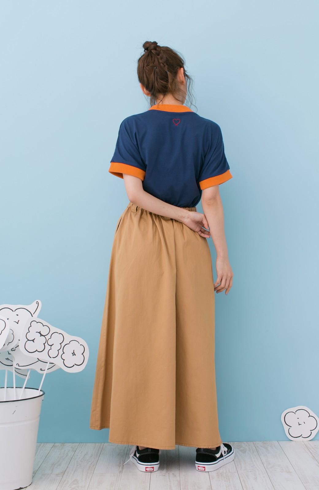 haco! PBP 高橋愛さんコラボ 手描きハート刺しゅうがかわいいコットンリンガーTシャツ <ネイビー>の商品写真11
