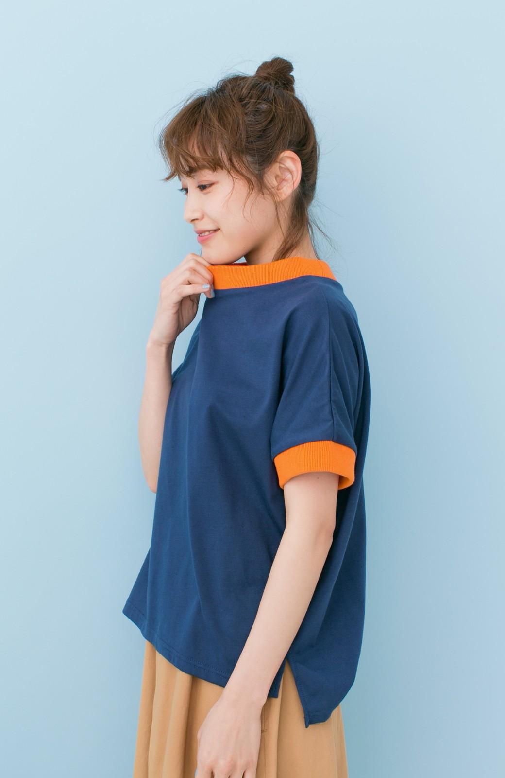 haco! PBP 高橋愛さんコラボ 手描きハート刺しゅうがかわいいコットンリンガーTシャツ <ネイビー>の商品写真12