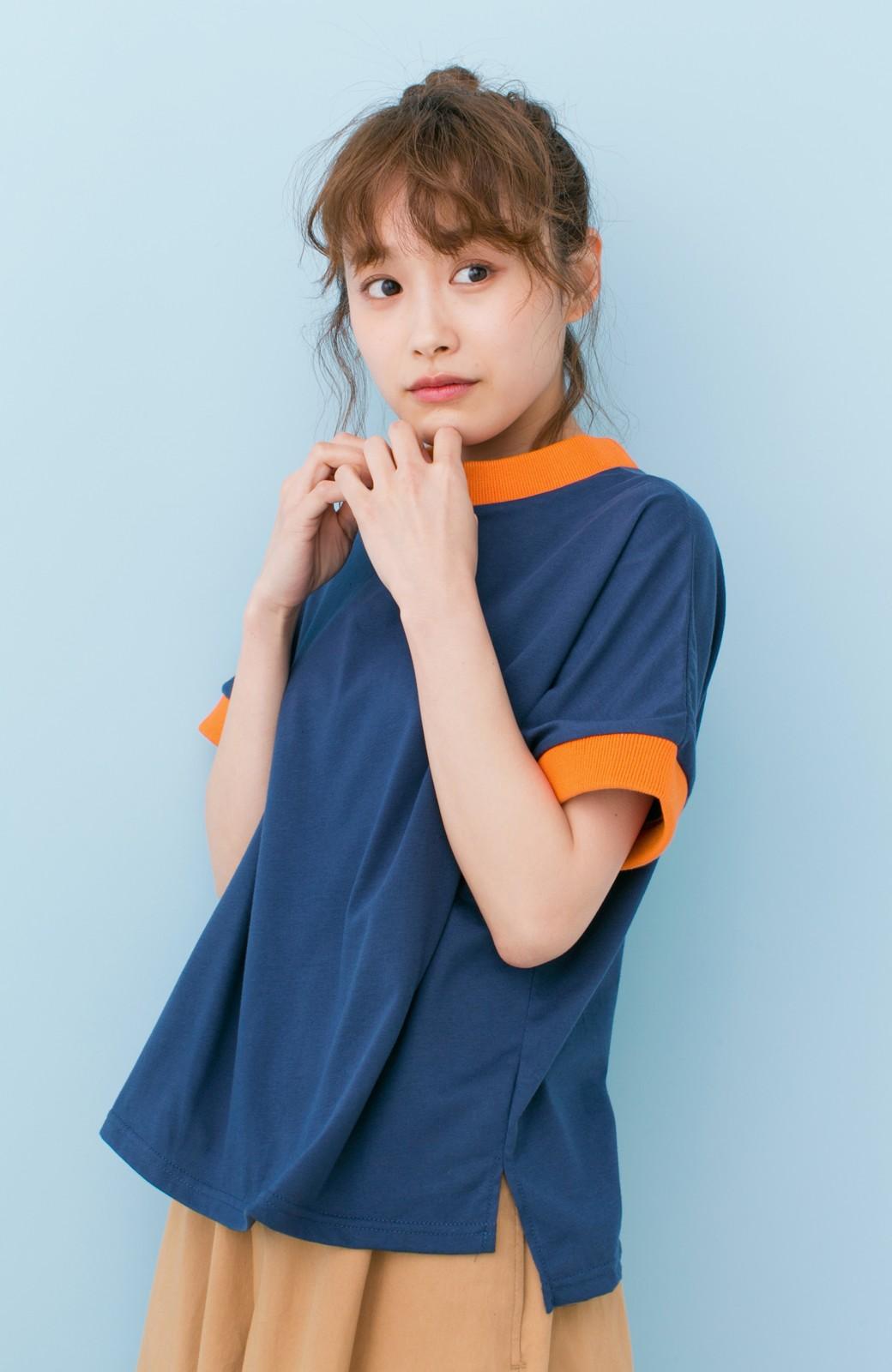 haco! PBP 高橋愛さんコラボ 手描きハート刺しゅうがかわいいコットンリンガーTシャツ <ネイビー>の商品写真13