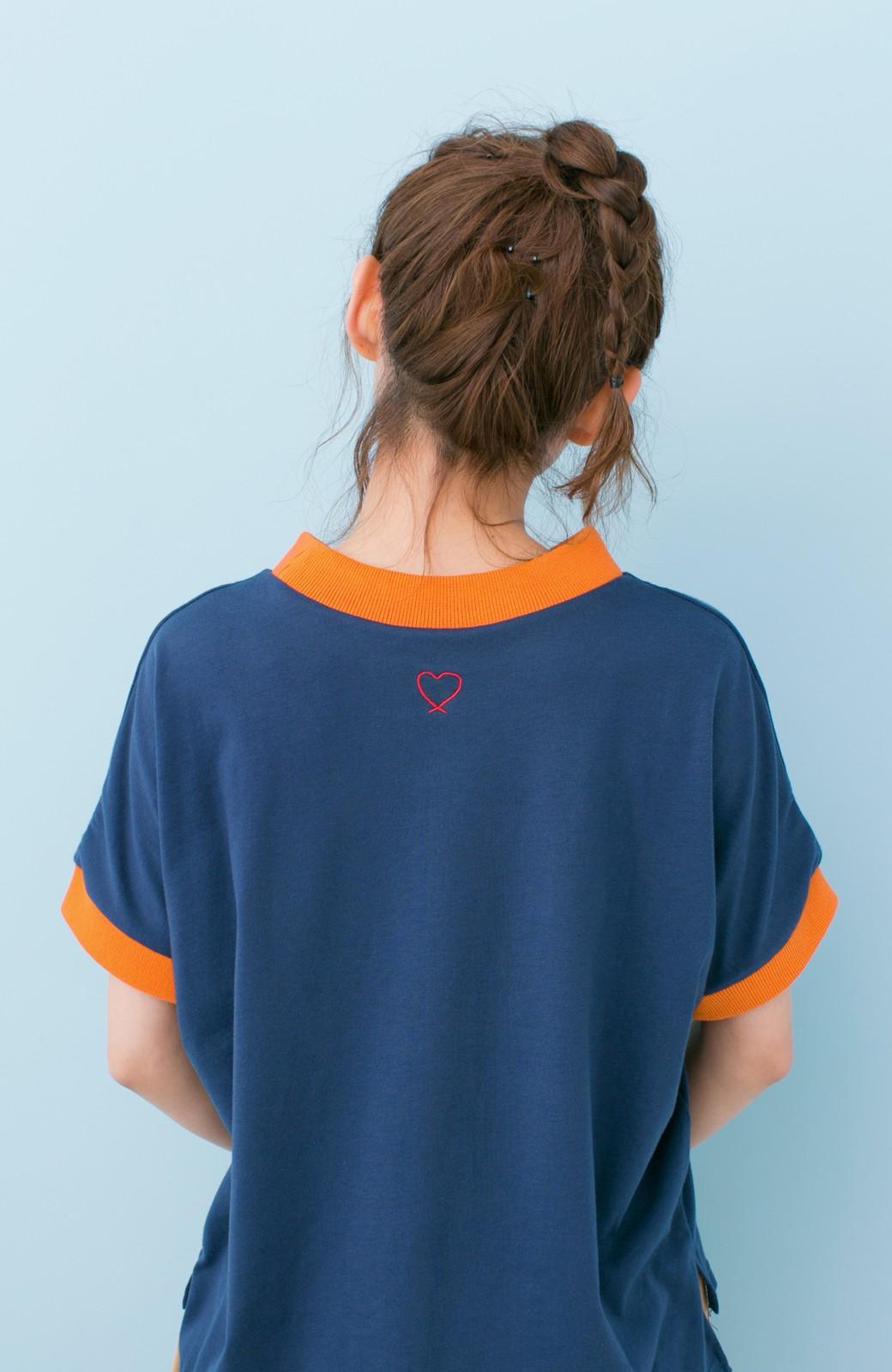 haco! PBP 高橋愛さんコラボ 手描きハート刺しゅうがかわいいコットンリンガーTシャツ <ネイビー>の商品写真14