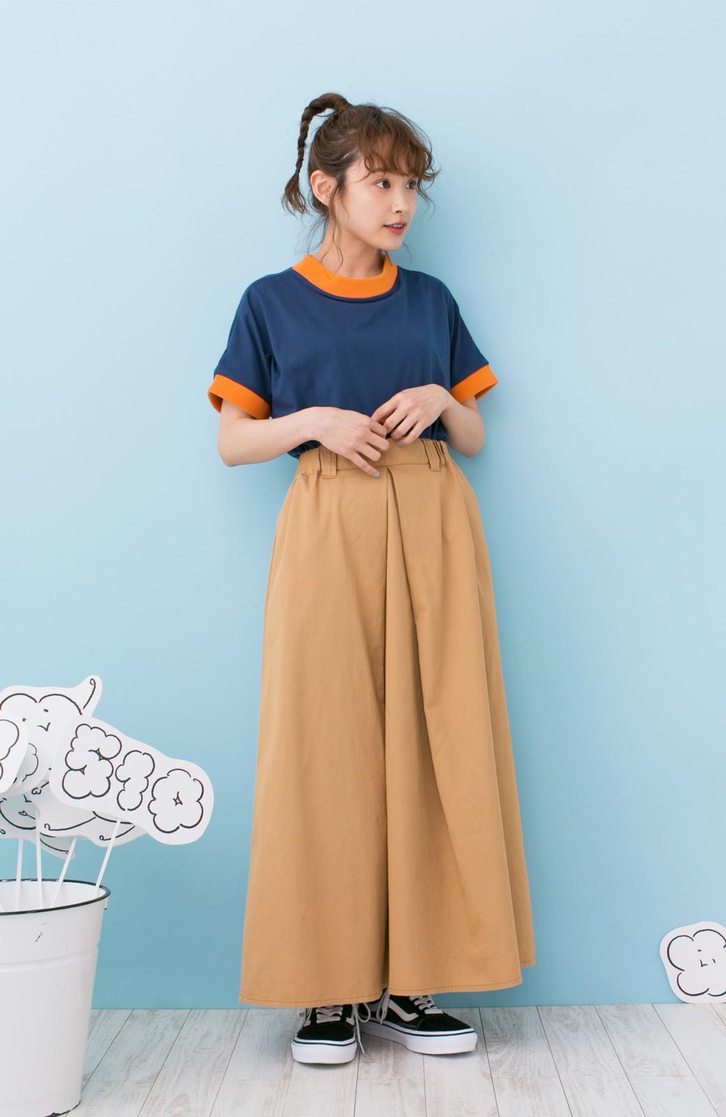 haco! PBP 高橋愛さんコラボ 手描きハート刺しゅうがかわいいコットンリンガーTシャツ <ネイビー>の商品写真5