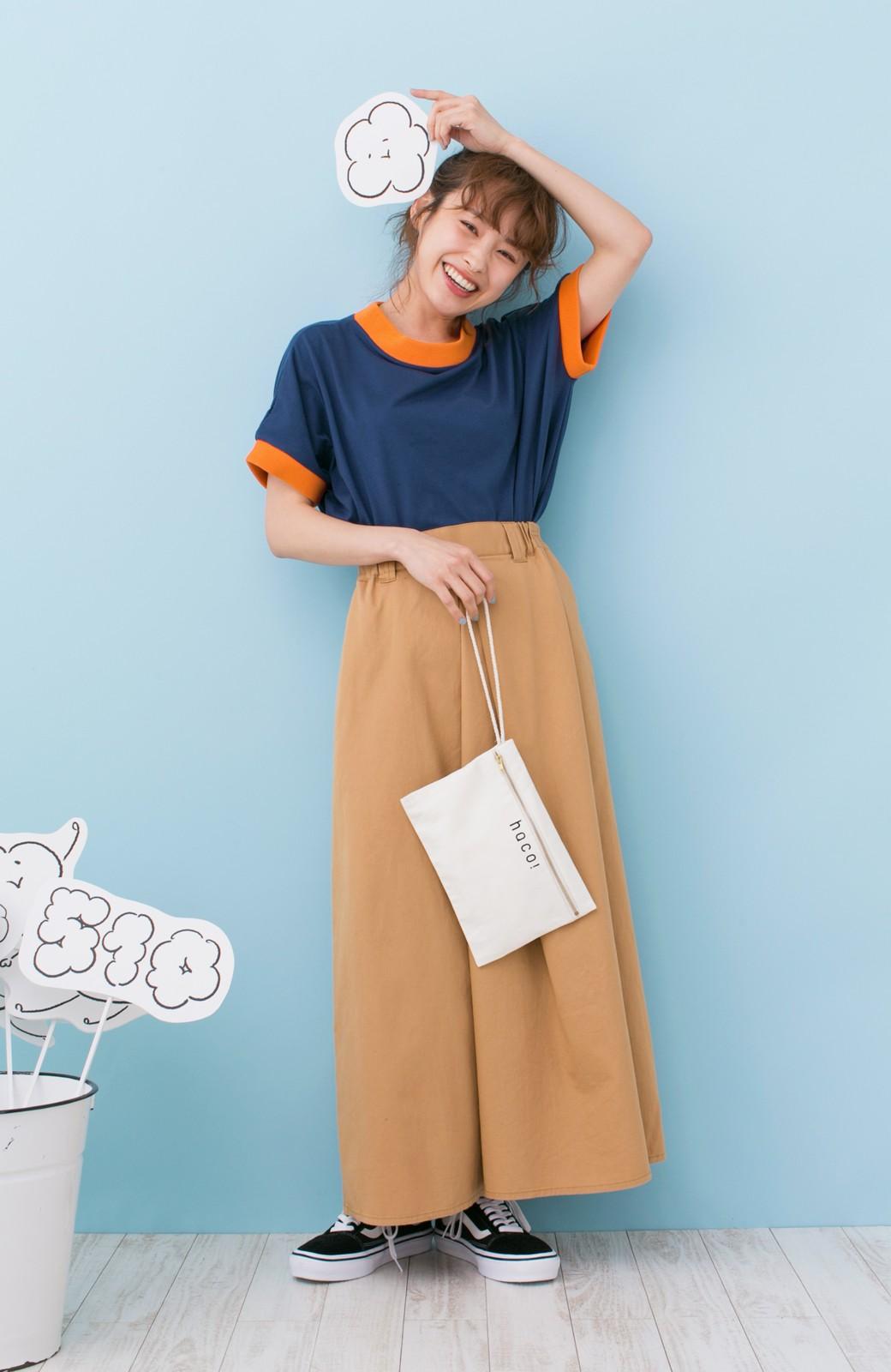 haco! PBP 高橋愛さんコラボ 手描きハート刺しゅうがかわいいコットンリンガーTシャツ <ネイビー>の商品写真6