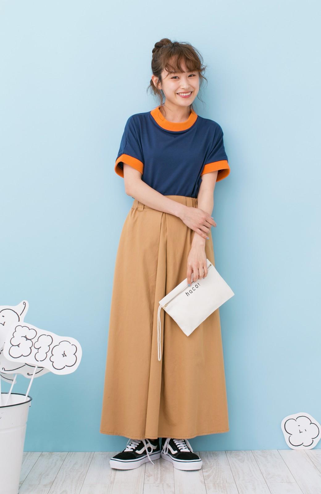 haco! PBP 高橋愛さんコラボ 手描きハート刺しゅうがかわいいコットンリンガーTシャツ <ネイビー>の商品写真7