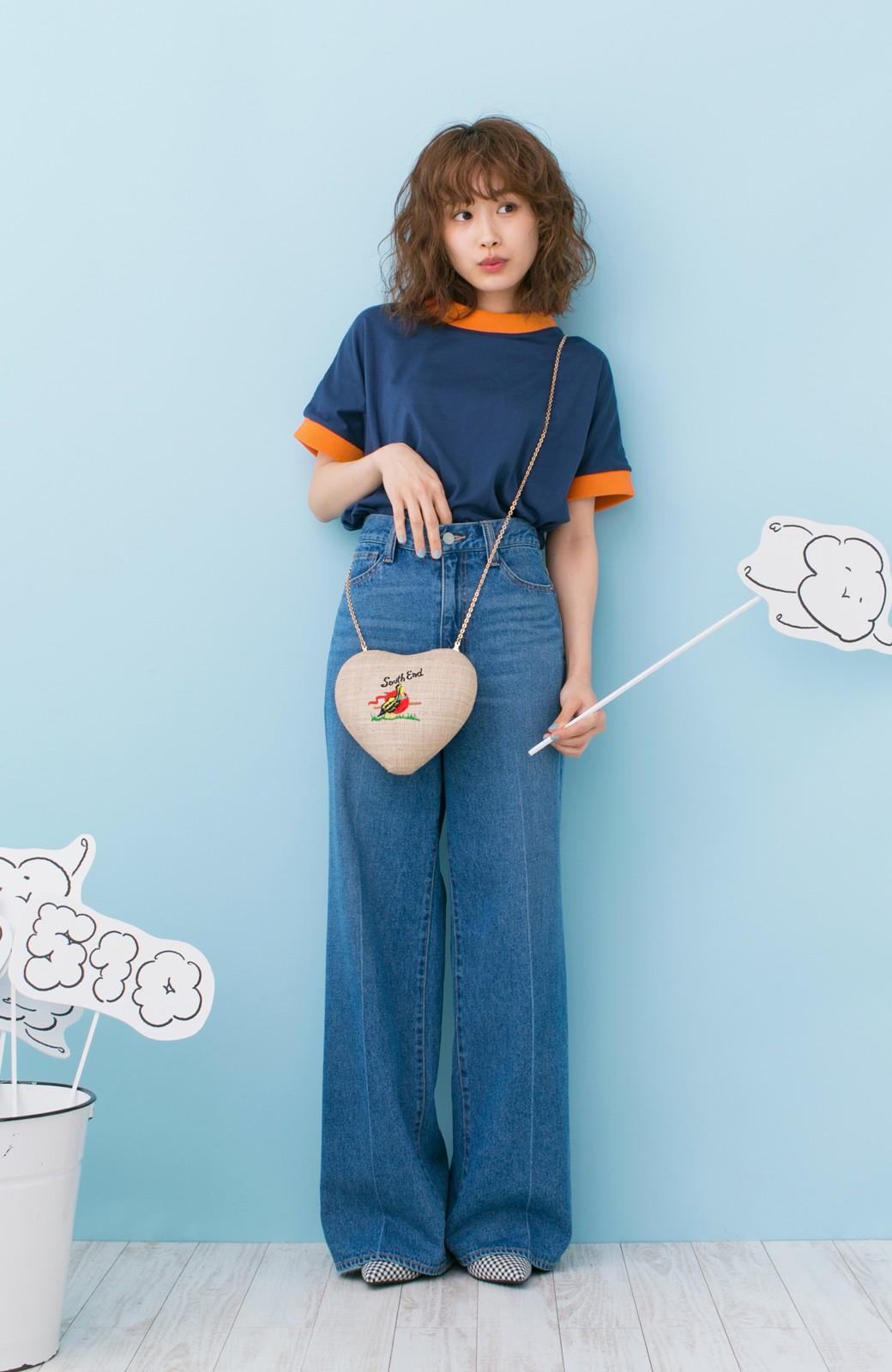 haco! PBP 高橋愛さんコラボ 手描きハート刺しゅうがかわいいコットンリンガーTシャツ <ネイビー>の商品写真8