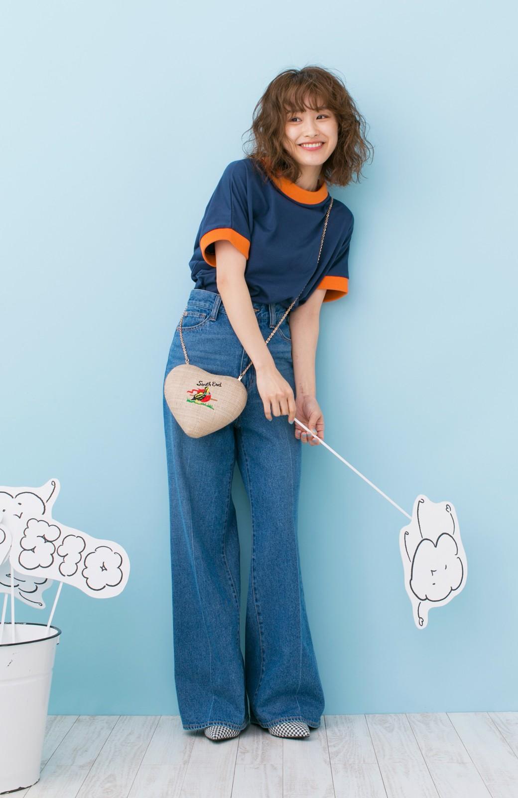 haco! PBP 高橋愛さんコラボ 手描きハート刺しゅうがかわいいコットンリンガーTシャツ <ネイビー>の商品写真9