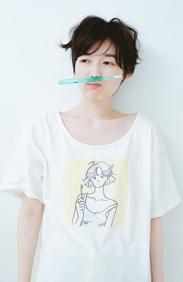 haco! PBP たなかみさきコラボ AM7:00の憂鬱Tシャツ <ホワイト>の商品写真