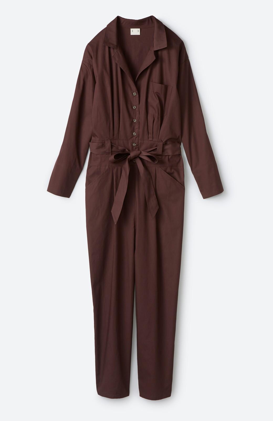 haco! PBP 高橋愛さんコラボ 大人っぽく着られるコットンシャツオールインワン <バーガンディー>の商品写真2