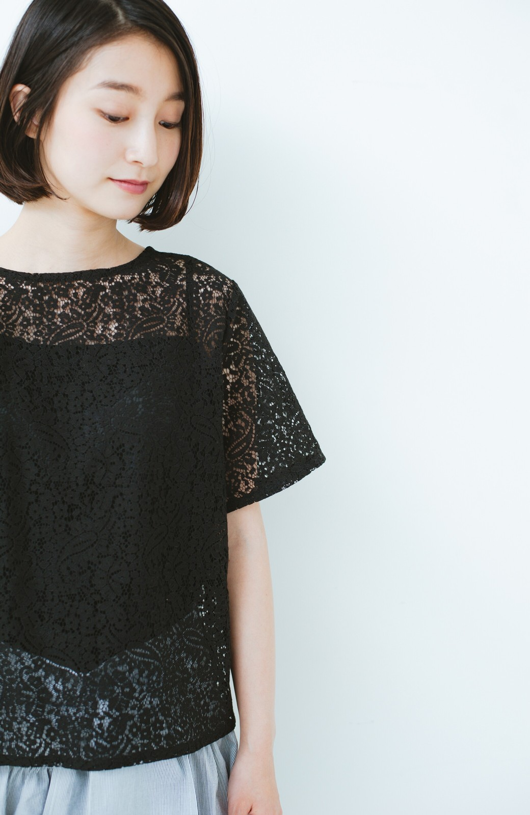 haco! いつものTシャツのかわりに着たい レースTブラウスとキャミソールセット <ブラック>の商品写真4