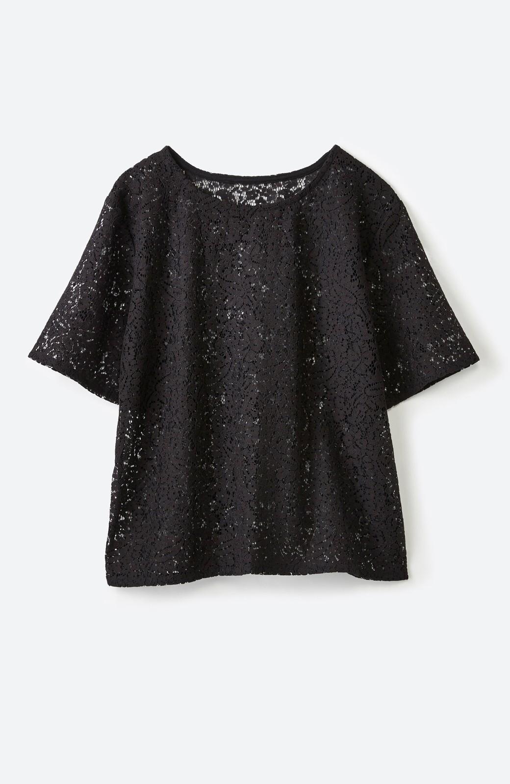 haco! いつものTシャツのかわりに着たい レースTブラウスとキャミソールセット <ブラック>の商品写真2