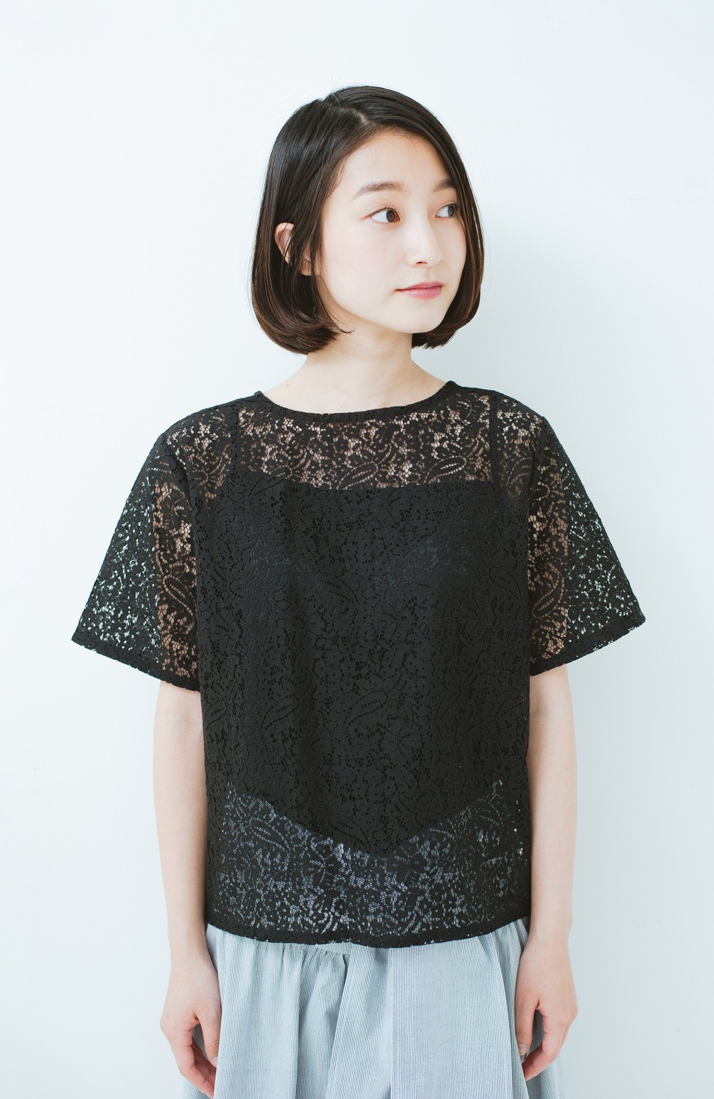 haco! いつものTシャツのかわりに着たい レースTブラウスとキャミソールセット <ブラック>の商品写真8