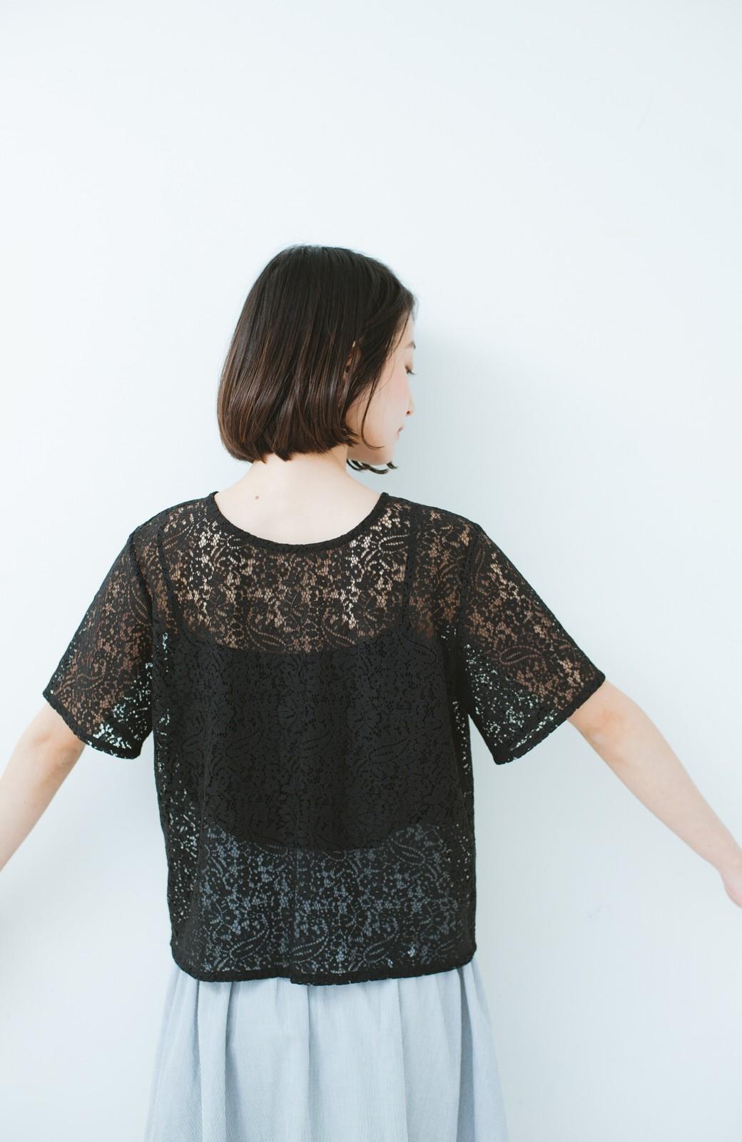 haco! いつものTシャツのかわりに着たい レースTブラウスとキャミソールセット <ブラック>の商品写真11