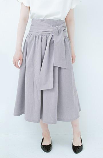 haco! Tシャツと合わせるだけでも女っぽが叶う ウエストリボンのストライプフレアースカート <ブラック系その他>の商品写真