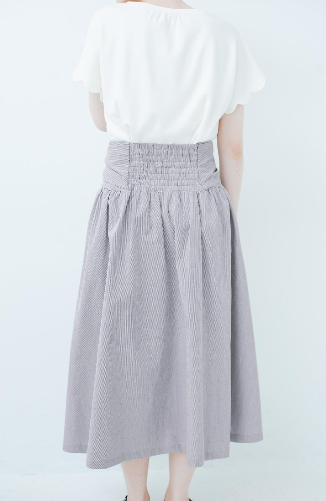 haco! Tシャツと合わせるだけでも女っぽが叶う ウエストリボンのストライプフレアースカート <ブラック系その他>の商品写真4