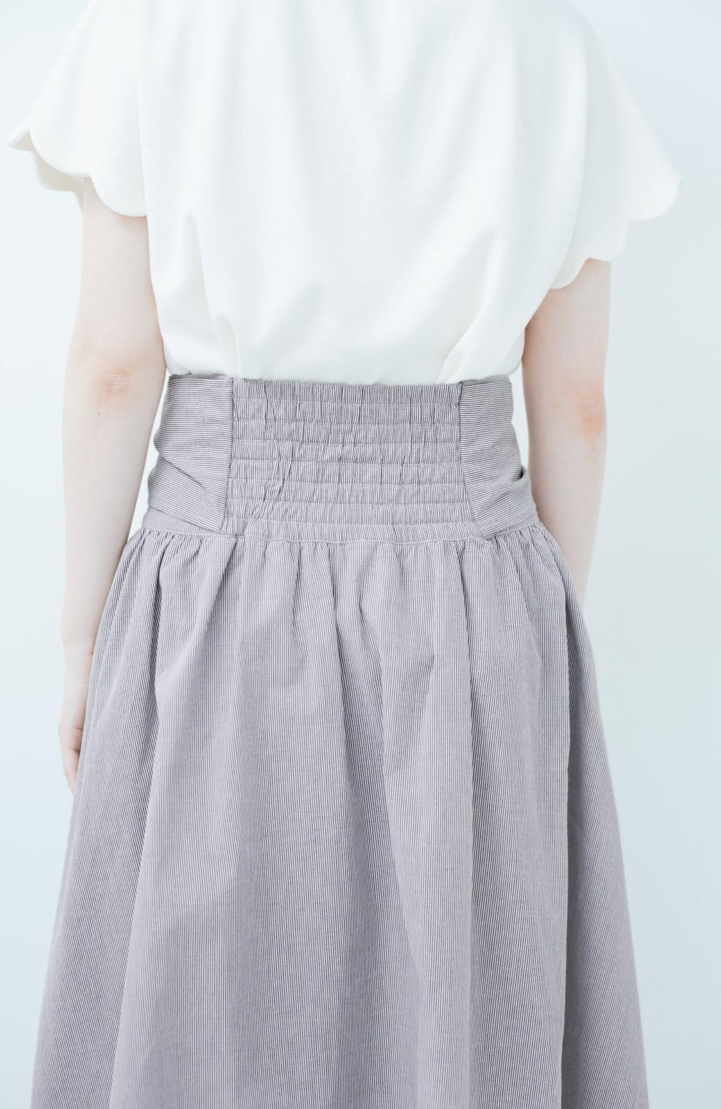 haco! Tシャツと合わせるだけでも女っぽが叶う ウエストリボンのストライプフレアースカート <ブラック系その他>の商品写真5