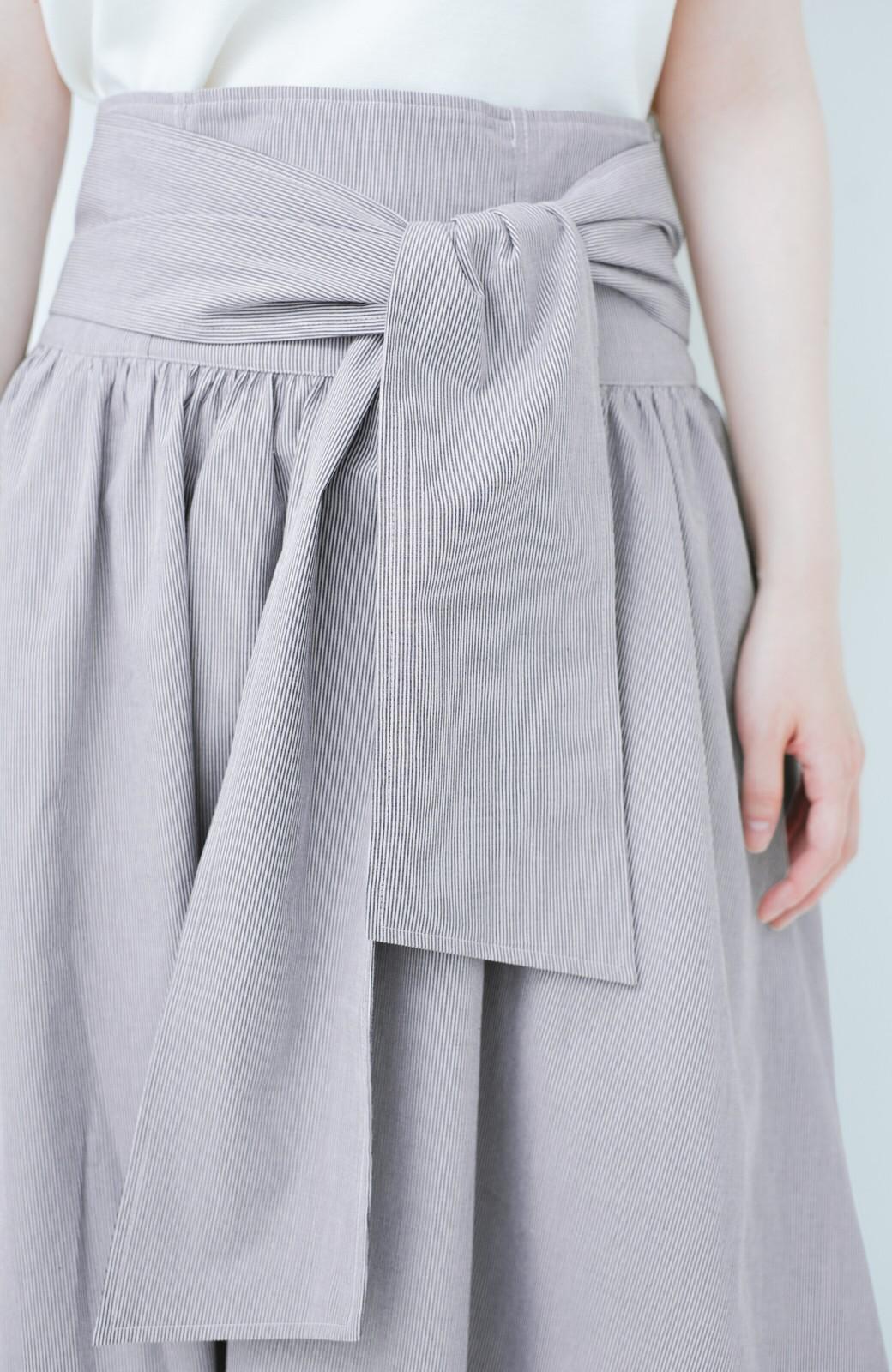 haco! Tシャツと合わせるだけでも女っぽが叶う ウエストリボンのストライプフレアースカート <ブラック系その他>の商品写真6