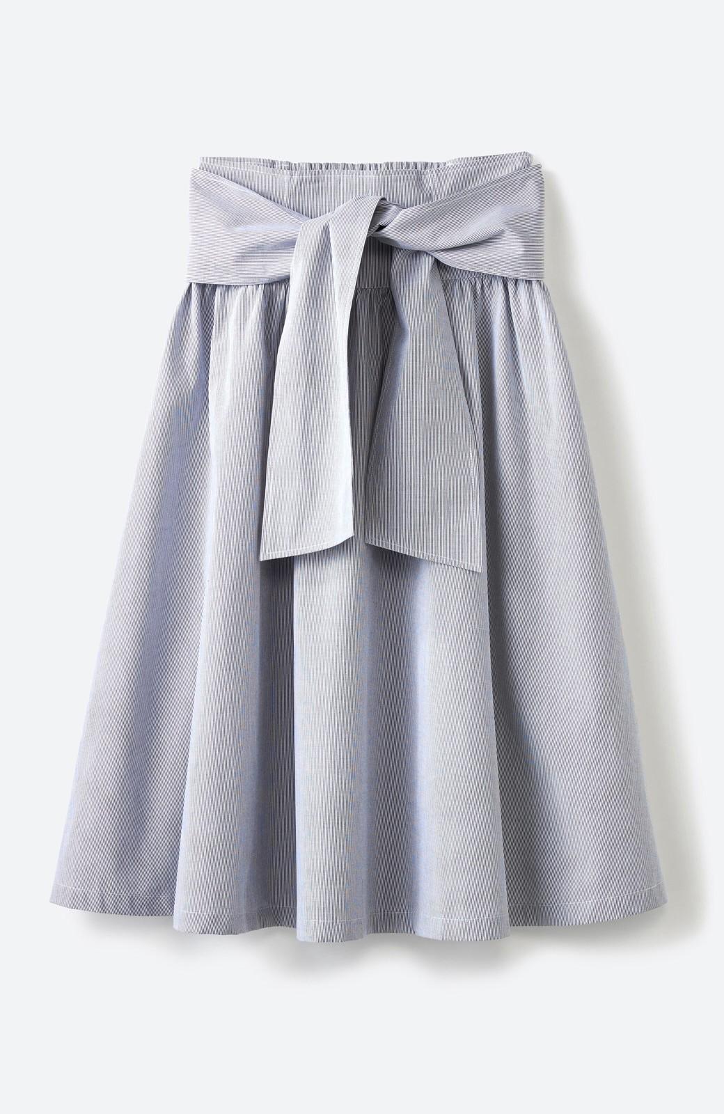 haco! Tシャツと合わせるだけでも女っぽが叶う ウエストリボンのストライプフレアースカート <ブラック系その他>の商品写真2