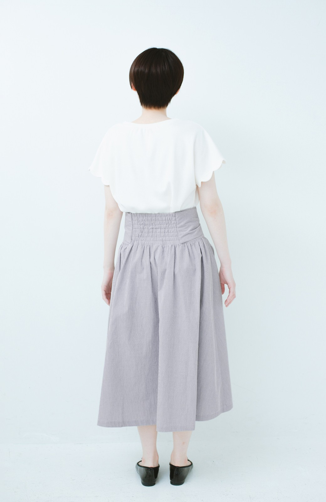 haco! Tシャツと合わせるだけでも女っぽが叶う ウエストリボンのストライプフレアースカート <ブラック系その他>の商品写真11