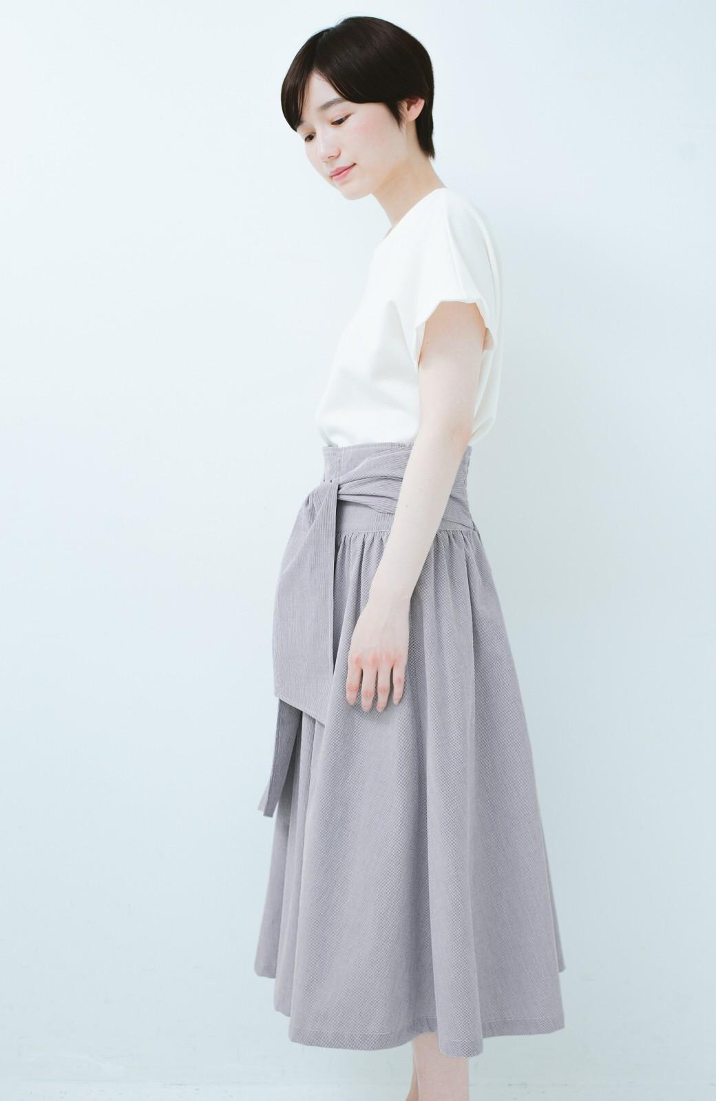 haco! Tシャツと合わせるだけでも女っぽが叶う ウエストリボンのストライプフレアースカート <ブラック系その他>の商品写真12