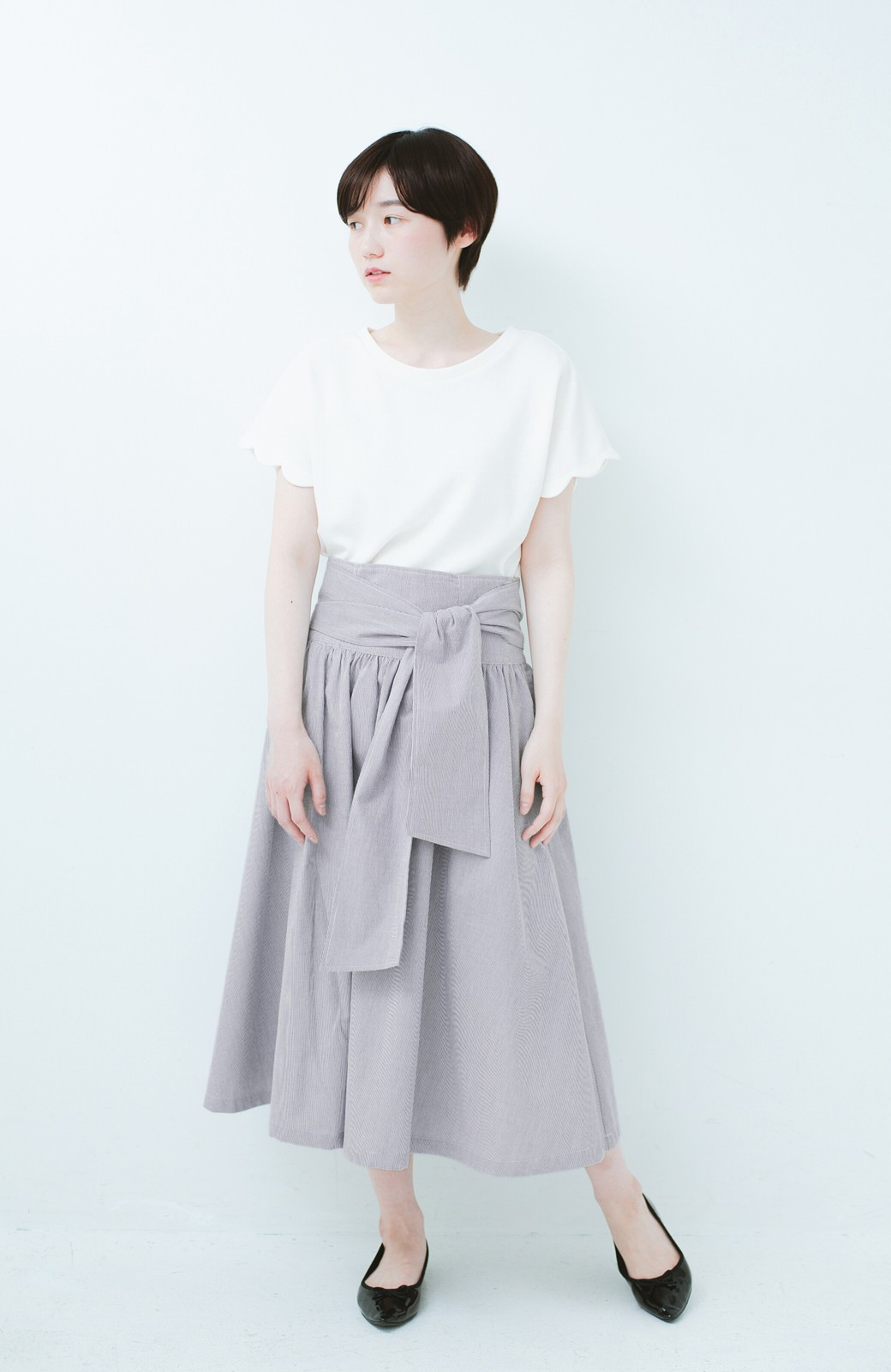 haco! Tシャツと合わせるだけでも女っぽが叶う ウエストリボンのストライプフレアースカート <ブラック系その他>の商品写真7