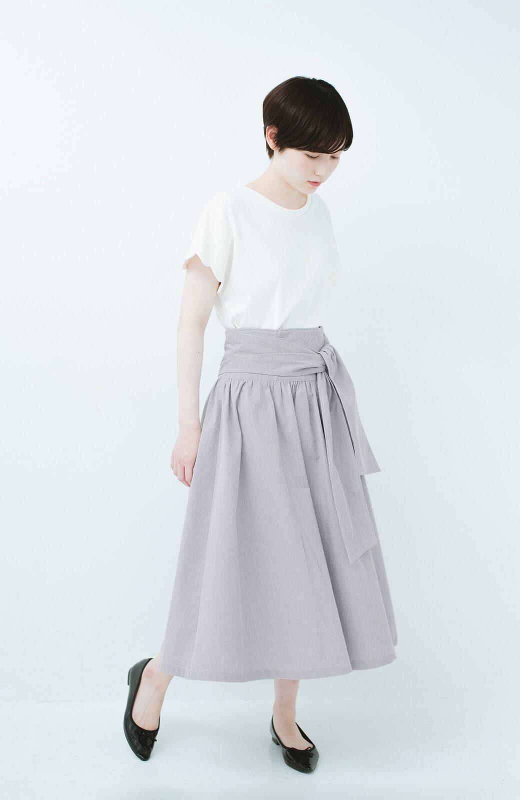haco! Tシャツと合わせるだけでも女っぽが叶う ウエストリボンのストライプフレアースカート <ブラック系その他>の商品写真9