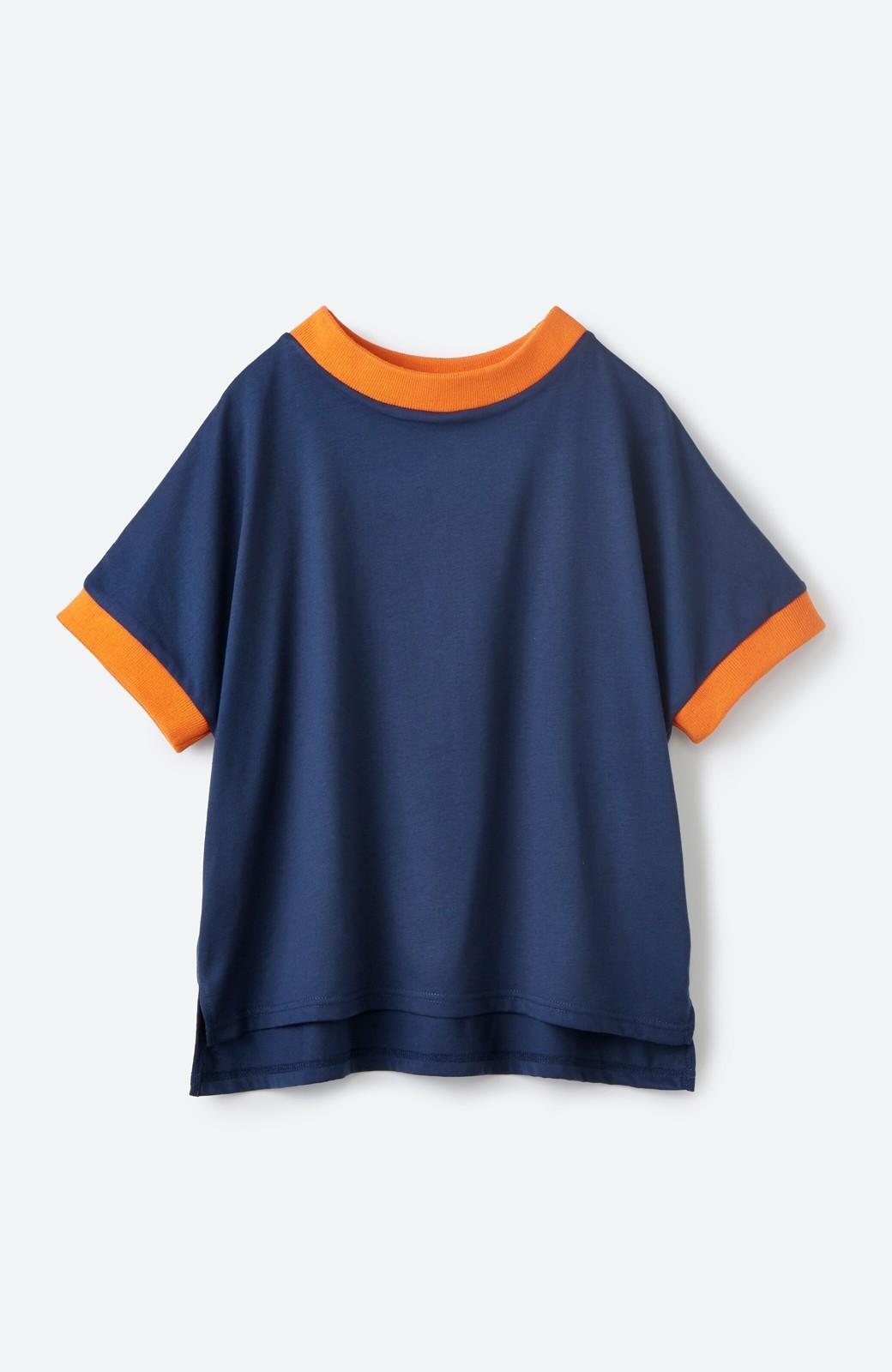 haco! PBP 高橋愛さんコラボ 手描きハート刺しゅうがかわいいコットンリンガーTシャツ <ネイビー>の商品写真2