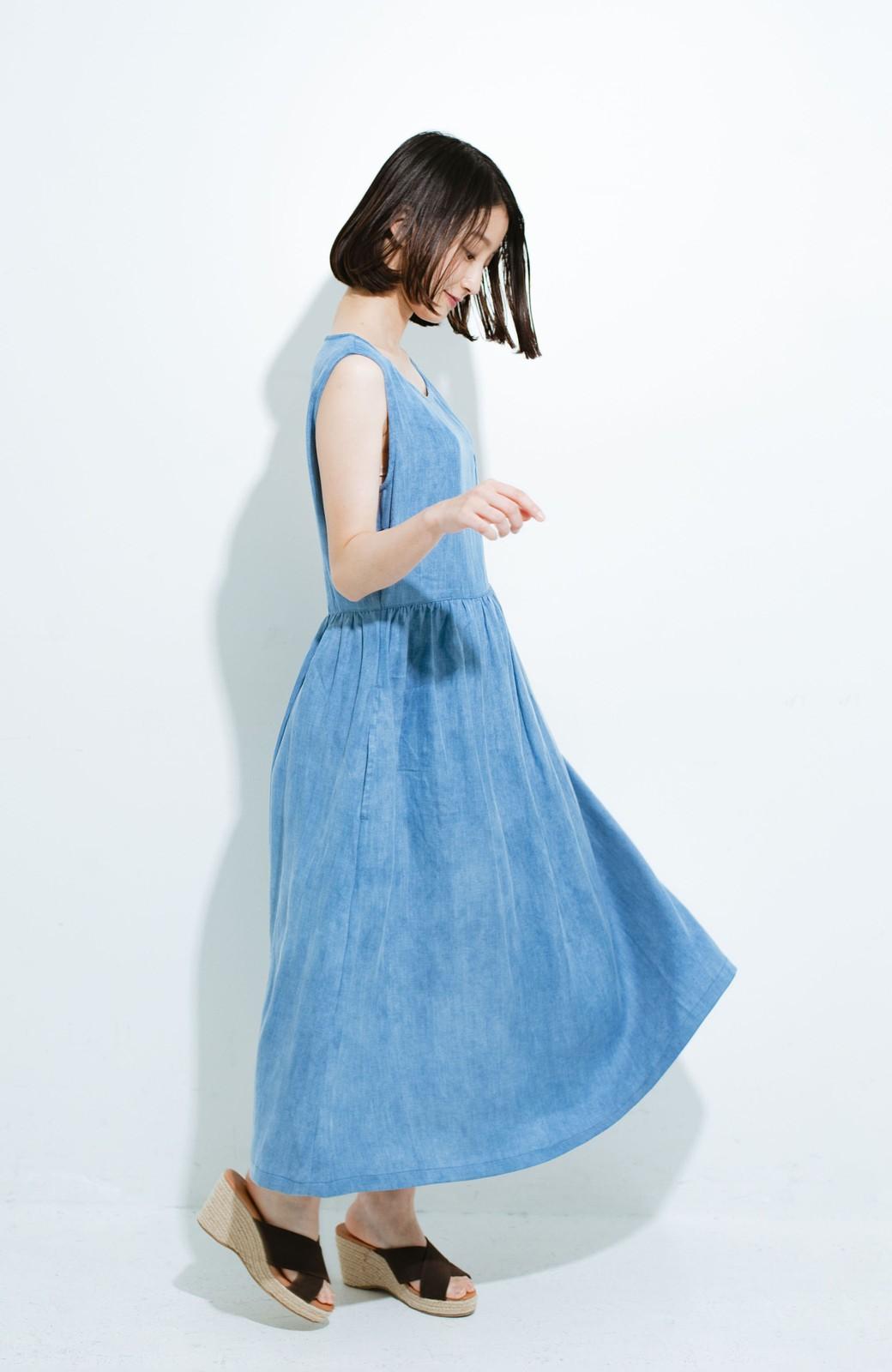 haco! Lady Lee ノースリーブロングドレス <ブルー>の商品写真7