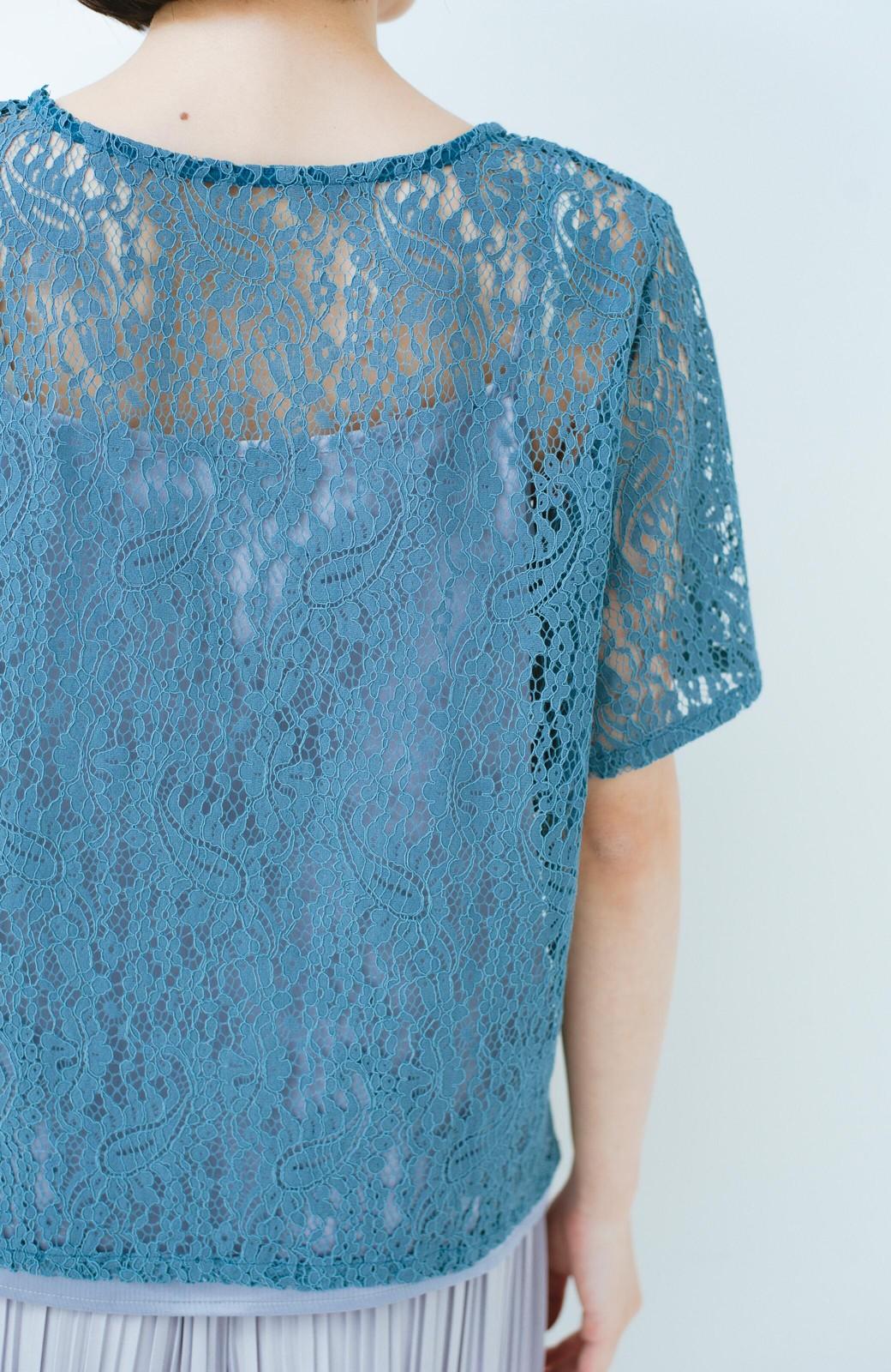 haco! いつものTシャツのかわりに着たい レースTブラウスとキャミソールセット <ブルー>の商品写真5