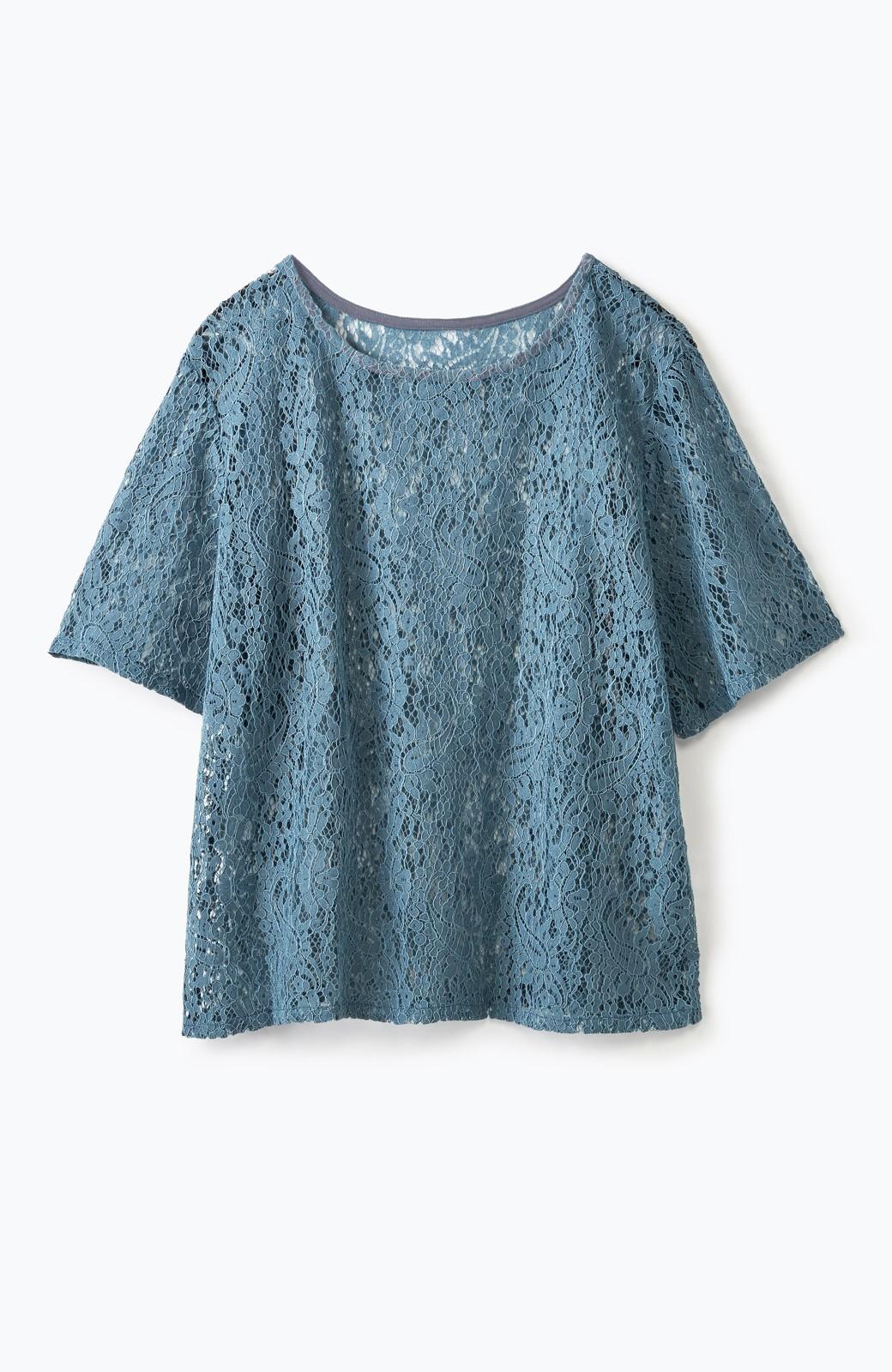 haco! いつものTシャツのかわりに着たい レースTブラウスとキャミソールセット <ブルー>の商品写真2