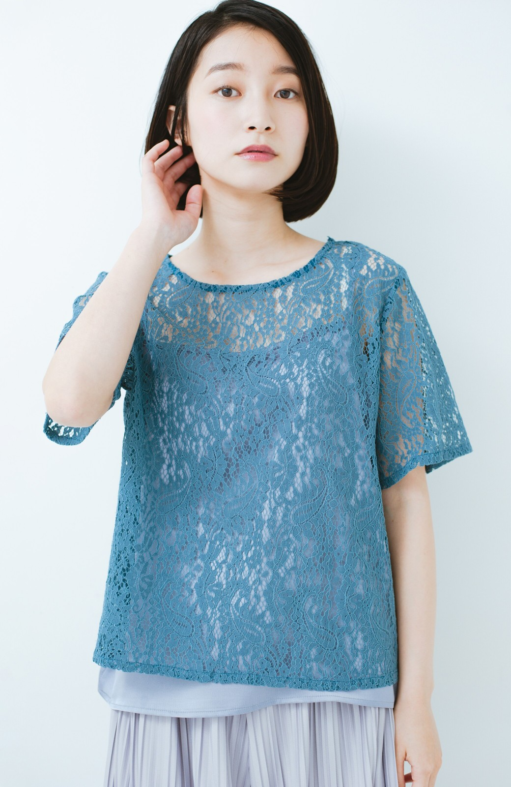 haco! いつものTシャツのかわりに着たい レースTブラウスとキャミソールセット <ブルー>の商品写真9