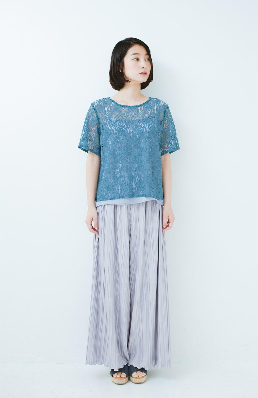 haco! いつものTシャツのかわりに着たい レースTブラウスとキャミソールセット <ブルー>の商品写真6