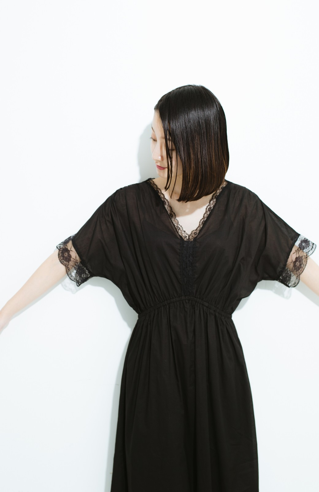 haco! 繊細レースにキュンとする 女の子ワンピース <ブラック>の商品写真11