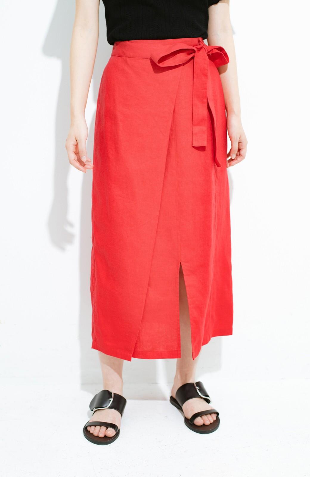 haco! 縦ラインですっきり見える 麻100%のタイトスカート <ピンク>の商品写真1