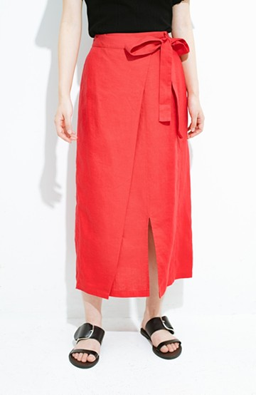 haco! 縦ラインですっきり見える 麻100%のタイトスカート <ピンク>の商品写真