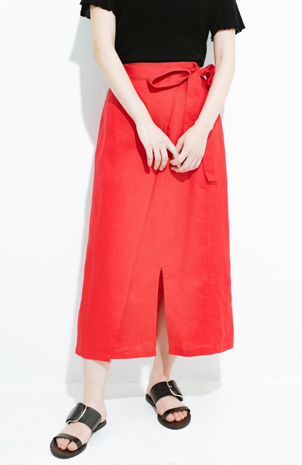haco! 縦ラインですっきり見える 麻100%のタイトスカート <ピンク>の商品写真3
