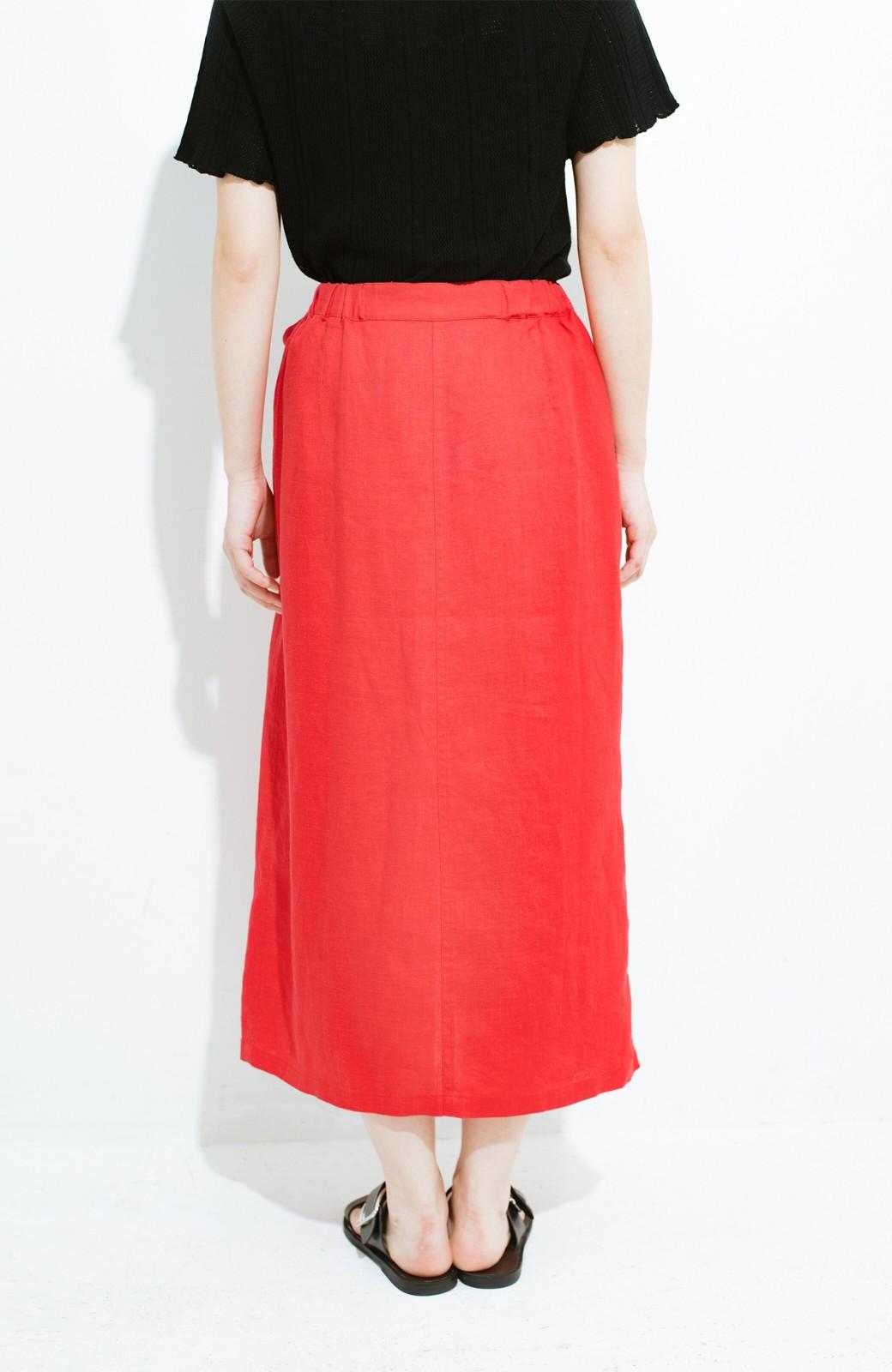 haco! 縦ラインですっきり見える 麻100%のタイトスカート <ピンク>の商品写真5