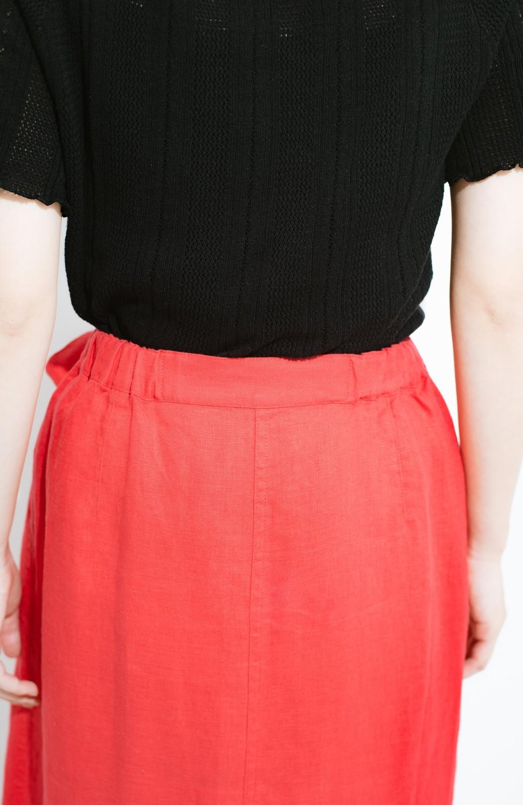 haco! 縦ラインですっきり見える 麻100%のタイトスカート <ピンク>の商品写真7