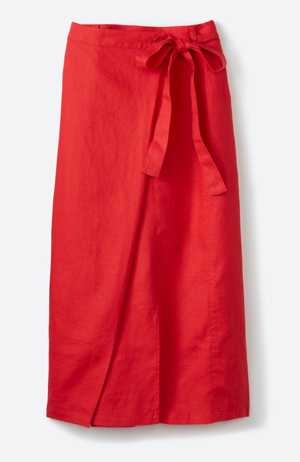 haco! 縦ラインですっきり見える 麻100%のタイトスカート <ピンク>の商品写真2