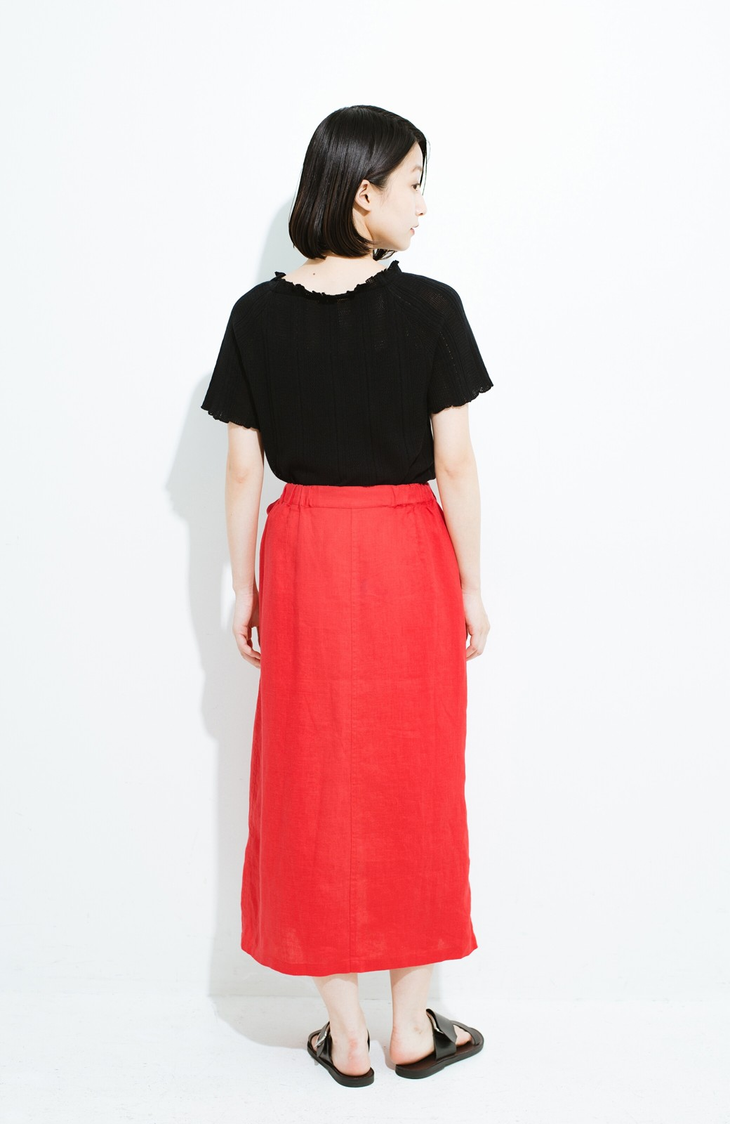 haco! 縦ラインですっきり見える 麻100%のタイトスカート <ピンク>の商品写真10