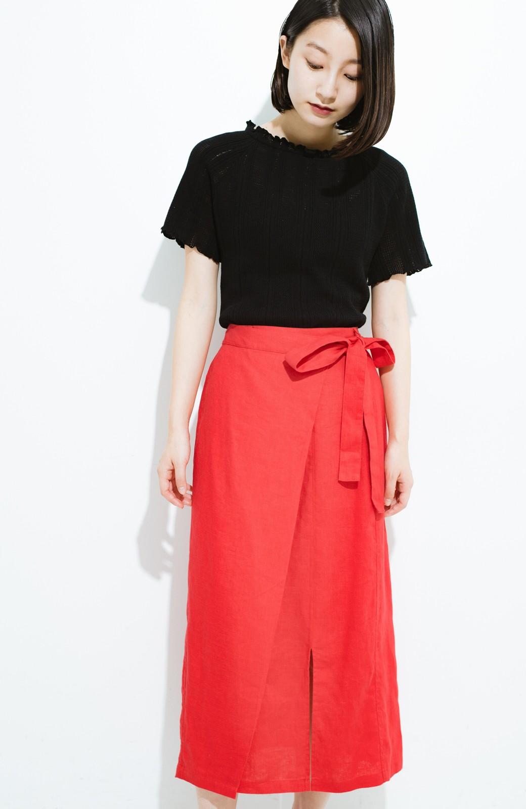 haco! 縦ラインですっきり見える 麻100%のタイトスカート <ピンク>の商品写真11